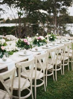 #tablescapes, #chair  Photography: Ozzy Garcia - ozzygarcia.com  Read More: http://www.stylemepretty.com/2014/10/16/romantic-garden-wedding-by-the-water/