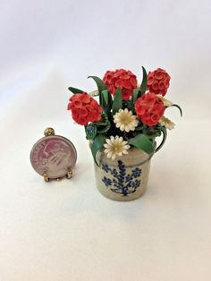 1:12 Dollhouse Miniature Diy Garden Clay Flowers Arrangement Pink Rose Red Pottery Basin Plant Mini Decor Toys For Dollhouse Toys & Hobbies Doll Houses