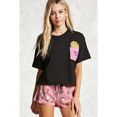 Forever21 Midnight Snacks PJ Set ($15) ❤ liked on Polyvore featuring forever 21