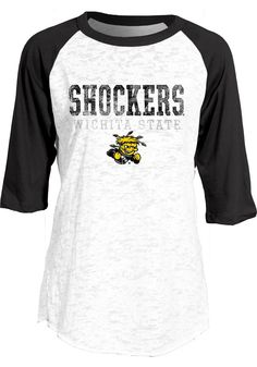 Wichita State Shockers Women's White and Black Raglan T-Shirt http://www.rallyhouse.com/college/wichita-state-shockers/a/womens/b/clothing/c/t-shirts?utm_source=pinterest&utm_medium=social&utm_campaign=Pinterest-WSUShockers $29.99