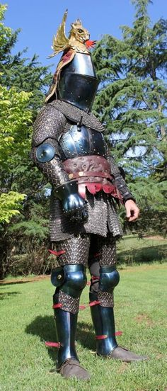 Rod Walker displays his new 14th century armour and accoutrements standing (photos by Michelle Walker)