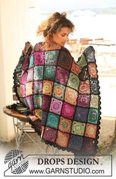 "Free pattern: Crochet DROPS blanket in ""Delight"" and ""Fabel"". ~ DROPS Design"