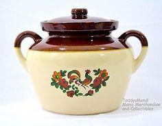 McCoy 2.5 Qt Bean Pot Crock Vintage Rooster Brown Folk Art Country Kitchen 342 3