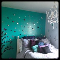 *Butterflies* My 13 Year Olds Room, Pop Of Color And A Touch Of