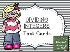 Dividing with Integers Task Cards Teaching Money, Negative Numbers, Integers, Positive And Negative, Task Cards, Divider, Positivity, Student, Math