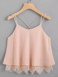 Shop Lace Hem Criss Cross Back Strappy Top online. SheIn offers Lace Hem Criss C. - Shop Lace Hem Criss Cross Back Strappy Top online. SheIn offers Lace Hem Criss Cross Back Strappy Top & more to fit your fashionable needs. Teen Fashion Outfits, Boho Outfits, Pretty Outfits, Girl Fashion, Summer Outfits, Casual Outfits, Girl Outfits, Cute Outfits, Fashion Design