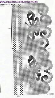 filet crochet Filet Crochet Butterfly Edging chart Szydekomania filete is artistic inspiration for us. Get extra photograph about Residence Decor and DIY & Crafts associated with by taki Crochet Patterns Filet, Crochet Motifs, Crochet Borders, Thread Crochet, Love Crochet, Crochet Doilies, Crochet Lace, Crochet Stitches, Cross Stitch Patterns