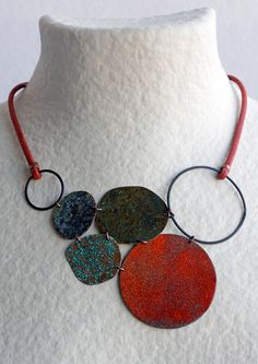 Big Star in Red - Oxidized Copper, Enamel and Leather by Montserrat Lacomba Leather Necklace, Leather Jewelry, Metal Jewelry, Beaded Jewelry, Handmade Jewelry, Ceramic Jewelry, Enamel Jewelry, Polymer Clay Jewelry, Bijoux Design