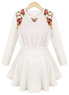 White Long Sleeve Contrast Floral Ruffle Dress GBP£18.04