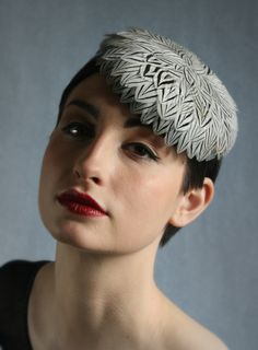 Silver pheasant feather disc | William Chambers Millinery | Spring/Summer 2010