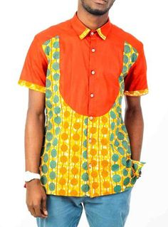 Short Sleeve African print shirt-Spot African Inspired Fashion, African Fashion, African Print Shirt, Printed Shirts, Shirt Style, Men Casual, Style Inspiration, Long Sleeve, Cloths