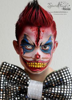 Halloween Clown, Amazing Halloween Makeup, Halloween Face Makeup, Zombie Face Paint, Halloween Karneval, Halloween Costumes, Kids Makeup, Clown Makeup, Zombie Makeup