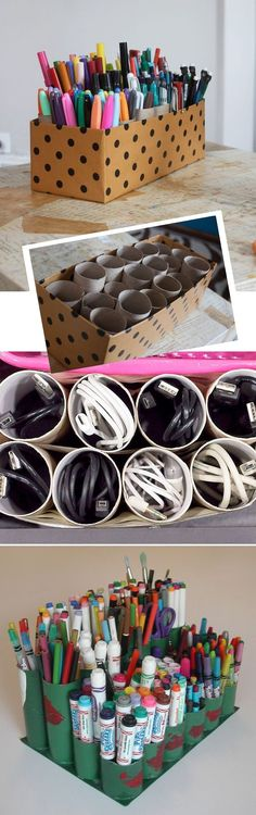 Lots of uses for Toilet Paper Rolls. I would take this further and paper the rolls with scrapbook paper, paint the inside of tubes, paper a box to match and WOW….what a great storage for pens of all sorts, brushes, markers, etc!!! In fact I will make one and post it.