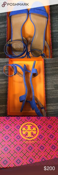 Tory Burch Elana Sandal Brand new still in box! Blue velvet with brown leather. Women's size 8.5. 1/2 inch heel height. Make offer Tory Burch Shoes Heels