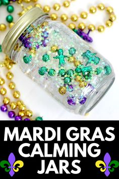 If you're looking for an easy, fun, and colorful way to help your children wind down, you're in luck! Here, we provide a tutorial for a Mardi Gras Calming Jar! Get the full tutorial at MomDot.com!