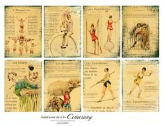 Items similar to French Vintage Circus ATC - ACEO Digital Collage Print Sheet on Etsy Vintage Circus Posters, Vintage Carnival, Le Clown, Free Samples By Mail, Art Journal Pages, Fashion Books, Digital Collage, Tag Art, Collage Sheet