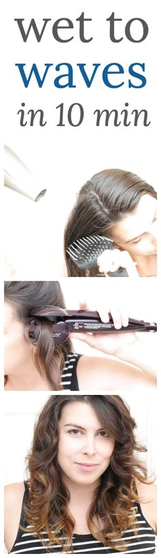 Wet to waves in ten minutes flat. Perfect beauty hairstyle  hair solution for busy moms! Also makes for an easy updo if you just pull it back into a clip.