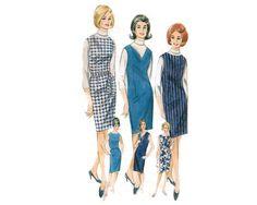 Perfect wardrobe builder - sleeveless, semi-fitter, one piece jumper pattern - 1960s Complete Original Butterick Pattern #3114