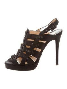 CHRISTIAN LOUBOUTIN Satin Caged Sandals Black Size 38.5 #ChristianLouboutin #PlatformsWedges