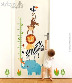 Jungle animals wall decal growth ruler - adorable! The perfect gift!