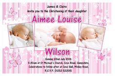 10 Personalised Girls Butterfly Christening Baptism Invitations Printed onto glossy photographic stock White self-seal envelopes included Photo Invitations, Invitation Cards, Tarpaulin Design, Louise Wilson, Christening Invitations Girl, Baptism Photos, Baby Corner, Michael Church, Baby Girl Baptism