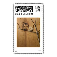 Whimsical Knothole owls Postage Stamp. This great business card design is available for customization. All text style, colors, sizes can be modified to fit your needs. Just click the image to learn more!