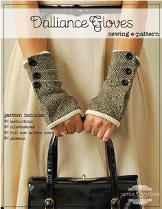 Dalliance Gloves sewing e-pattern fingerless gloves sewing pdf pattern The Dalliance Glove is a fingerless glove sewing pattern that features fabric folds buttoned to the fully lined glove. These flirtatiously fun gloves Sewing Tutorials, Sewing Hacks, Sewing Crafts, Sewing Diy, Hand Sewing, Sewing Projects, Coat Pattern Sewing, Sewing Patterns, Diy Clothing