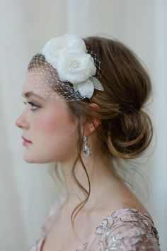 hair - Image of Bridal Hairband with Mini Veil in Light Ivory by Fine & Fleurie
