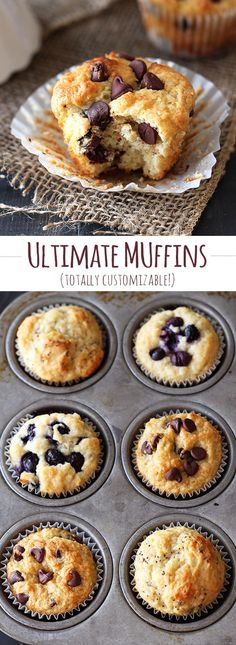 This is THE ULTIMATE muffin recipe! It's a master base that you can add WHATEVER you want to!! Options are limitless. Fluffige Muffins, Breakfast Muffins, Easy Blueberry Muffins, Breakfast Recipes, Dessert Recipes, Churros, Basic Muffin Recipes, Plain Muffin Recipe, Homemade Muffin Mix