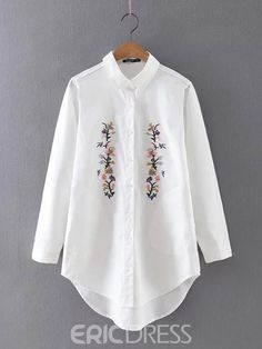 Shirt Embroidery, Floral Embroidery, Modern Tops, Cool Outfits, Fashion Outfits, Embroidered Clothes, Blouses For Women, Indian Designer Wear, Long Sleeve Shirts