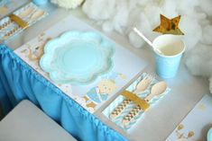 Place settings at a prince and prince teddy bear  birthday party! See more party ideas at CatchMyParty.com!