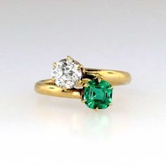 Tiffany & Co 1920s Emerald & Diamond Bypass Toi et Moi Ring 18k | Antique & Estate Jewelry | Jewelry Finds