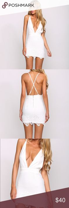 Hello Molly White Lace Dress SOLD OUT SOLD OUT! Size 10 AU Which is a size medium in US size. Runs small. In excellent condition. This is the cheapest you'll find this sold out Dress. Deep V bodycon dress. Lace at the bottom. Cross back. Adjustable straps. Polyester. Double lined. Dresses Mini