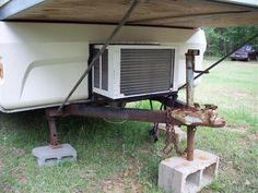 "1976 Apache Ramada ""hardside"" pop-up camper. How to add an A/C unit. Mini Camper, Popup Camper, Truck Camper, Camper Trailers, Camper Air Conditioner, Window Air Conditioner, Camper Hacks, Camper Ideas, Apache Camper"