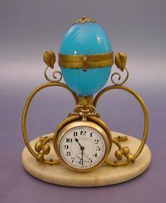 Antique French Blue Opaline Casket Watch Holder