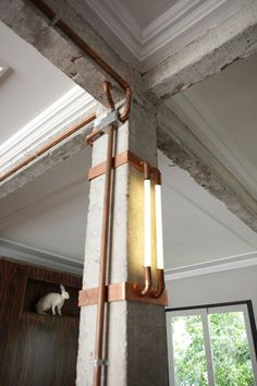 exposed duct lighting | industrial modern apartment | by mila strauss + marcos paulo caldeira: