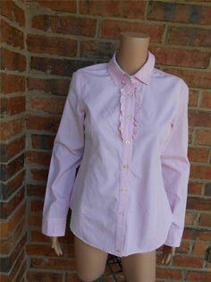 VINEYARD VINES Gingham Blouse Size 6 Women Ruffle Shirt Top 100% cotton