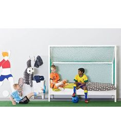 LEF collections Bed Voetbalbed wit 209x90x175cm - wonenmetlef.nl