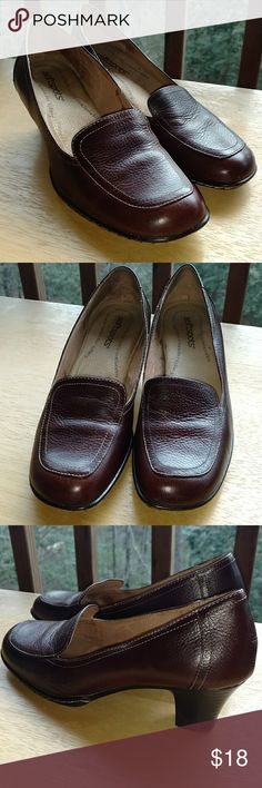Softpots brown heeled loafers In excellent condition! Softspots Shoes Heels