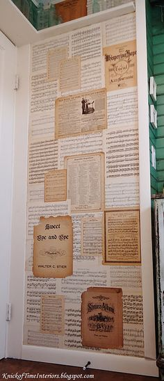"""She used antique sheet music as """"wall paper"""" -- from Knick Of Time"""