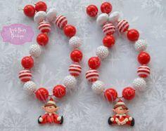 Christmas Elf Chunky Necklace Christmas Bubblegum Necklace Elf Girl Chunky Bubblegum Necklace Holiday Santa Elf Necklace Elf Santa Helper