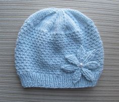 Instant Download Knitting Pattern #131 Blue Hat in Beads Stitch with a Knitted Flower in Size Adult