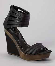 Another great find on #zulily! Black Eagly Wedge Sandal by Bucco #zulilyfinds