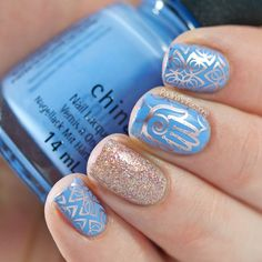 Look at this beautiful blue #manicure created by @paulinaspassions using the Bundle Monster Work It Stamping Set Plate