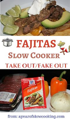 Fajitas in the crockpot slow cooker couldn't be any easier. There's no need to brown the meat and onion beforehand -- just throw it all in the pot. You can use a packet or there's a homemade fajita seasoning mix recipe included here. Fajita Seasoning Packet, Fajita Mix, Homemade Fajita Seasoning, Slow Cooker Steak, Slow Cooker Recipes, Crockpot Recipes, Crockpot Dishes, Chicken Recipes, Beef Fajita Recipe