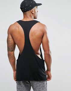 Image 2 of ASOS Vest In Raw Edge Extreme Dropped Armhole And Racer Back In…