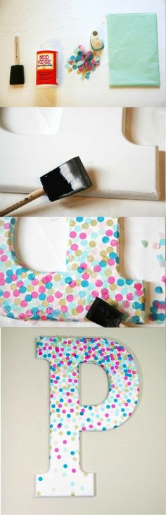 wanddeko selber machen wohnideen selber machen buchstabe mit buntem papier dekorieren