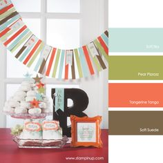 Soft Sky, Pear Pizzazz, Tangerine Tango, Soft Suede #stampinupcolorcombos