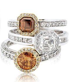 Rosendorff Honey Collection Cognac and White Diamond Rings