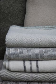 Barney Woven Welsh Wool Blanket: Dark Olive Stripe : Damson and Slate, Beautiful products from Wales
